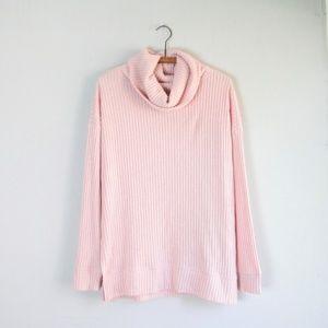 GAP blush pink cowl neck ribbed knit sweater